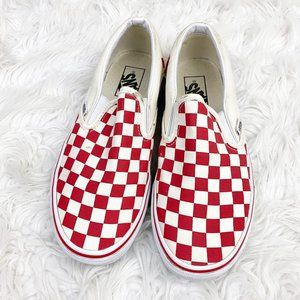 VANS Asher Red White Checkered Slip On Sneakers